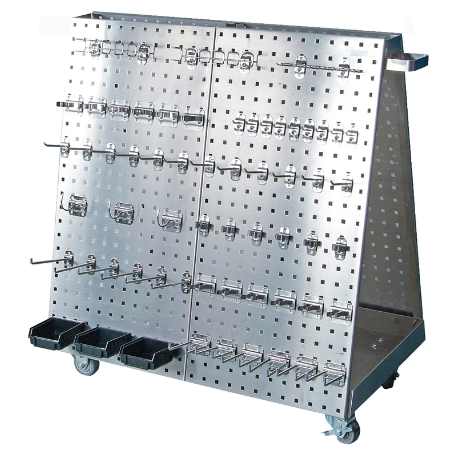 """Stainless Steel LocBoard 36-3/4""""L x 39-1/4""""H x 21-1/4""""W Anodized Aluminum Frame SS LocBoard Tool Cart with Tray, 60-Piece Stainless Steel LocHook Assortment & 3 Hanging Bins"""