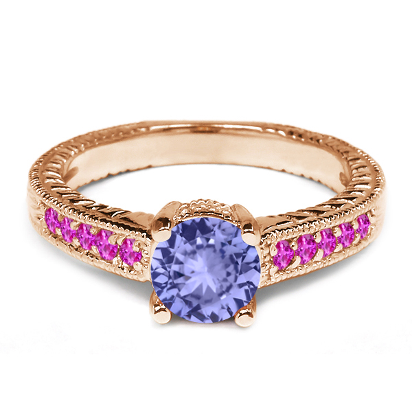 1.08 Ct Round Blue Tanzanite Pink Sapphire 18K Rose Gold Engagement Ring by