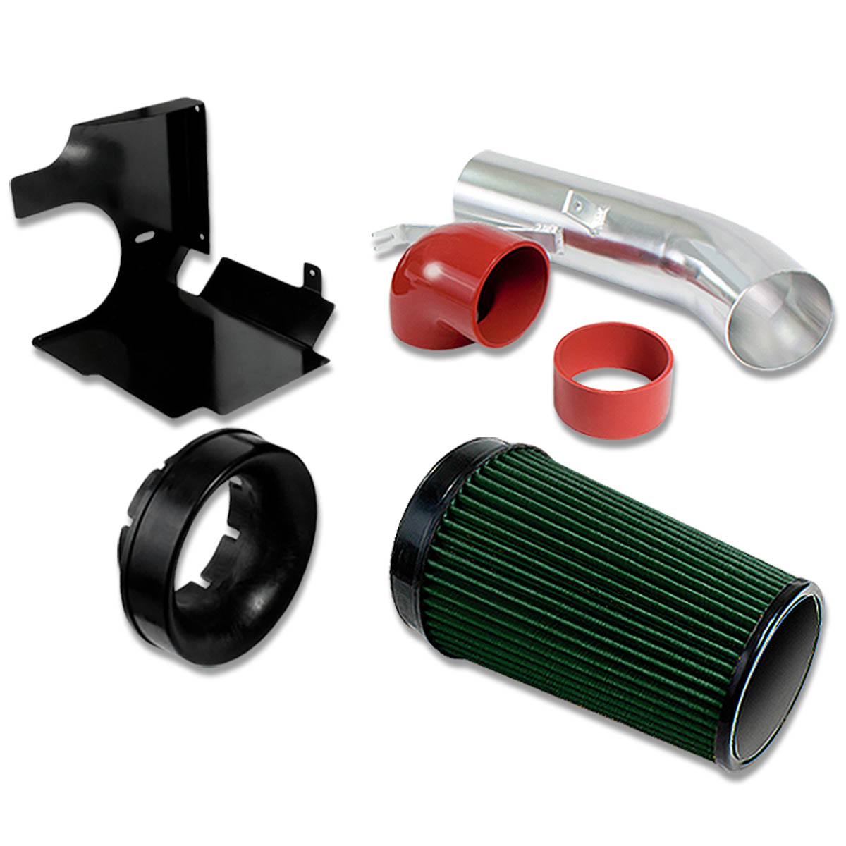 """For 99-06 GMT800 V8 Truck/SUV 4"""" Aluminum Air Intake System (Green Filter / Silver Pipe / Black Heat Shield)"""