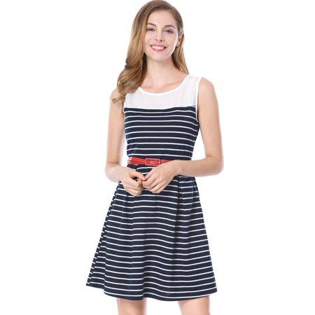 Unique Bargains Women's Pleated Contrast Striped Panel A-line Dress w Belt