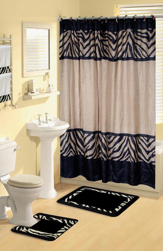 Home Dynamix Boutique Deluxe Shower Curtain And Bath Rug Set Bou 6 Zebra 17 Piece Bath Set Walmart Com Walmart Com