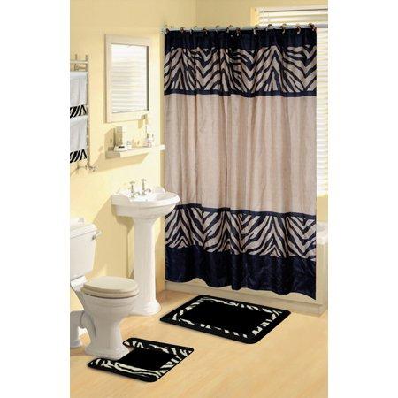 Home Dynamix Boutique Deluxe Shower Curtain And Bath Rug Set Bou 6 Zebra 17
