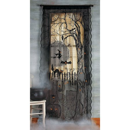 Halloween Movie Curtis (Spooky Lighted Lace Curtain Panel, Dimensions: 40