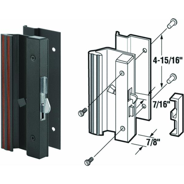 Slide-Co 14664-B Latch Handle With Low Profile/Base, Black/Aluminum