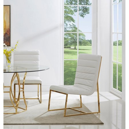 Wondrous Best Master Furniture Gunnar White Gold Base Leather Match Side Chairs Set Of 2 Gmtry Best Dining Table And Chair Ideas Images Gmtryco