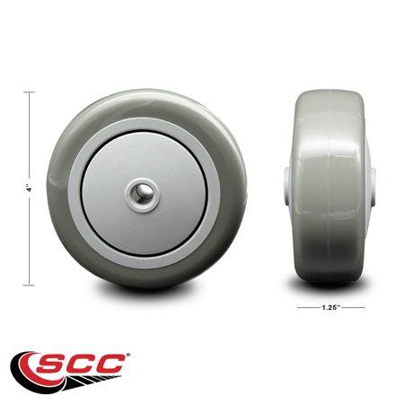 """4"""" x 1.25"""" Gray Polyurethane on Gray Polyolefin Wheel Only with Precision Ball Bearing - 3/8"""" Bore - Non Marking/Non Marring - 300 lbs Capacity per Wheel  -  Service Caster Brand"""