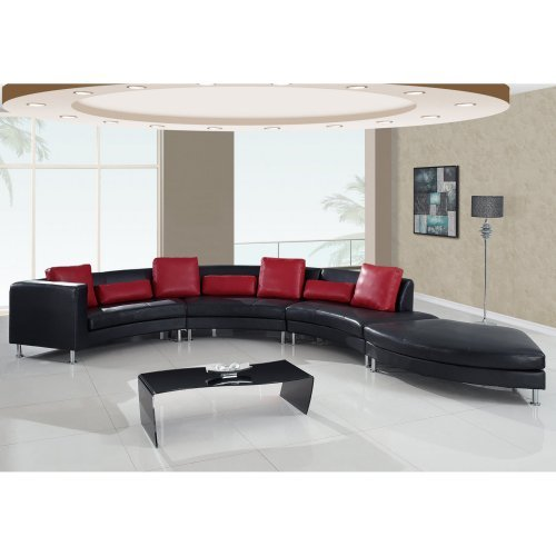Global Furniture USA 919 4 Piece Sectional in Black with Red Pillows