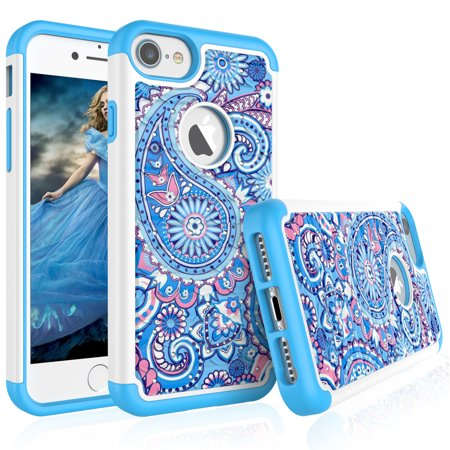 iPhone 8 Case, iPhone 7 Case For Girls, Tekcoo [Tmajor] Retro Pattern Luxury Lovely [Paisley Blue] Bling Crystal Studded Rhinestone Adorable Rubber Plastic Sturdy Bumper Cases - Cape Girls