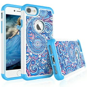 iPhone 8 Case, iPhone 7 Case For Girls, Tekcoo [Tmajor] Retro Pattern Luxury Lovely [Paisley Blue] Bling Crystal Studded Rhinestone Adorable Rubber Plastic Sturdy Bumper Cases Cover