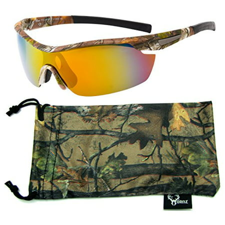 Rooly Free Sunglasses (Hornz Brown Forrest Camouflage Polarized Sunglasses for Men Wrap Around Sport Frame & Free Matching Microfiber Pouch - Brown Camo Frame - Orange Lens )