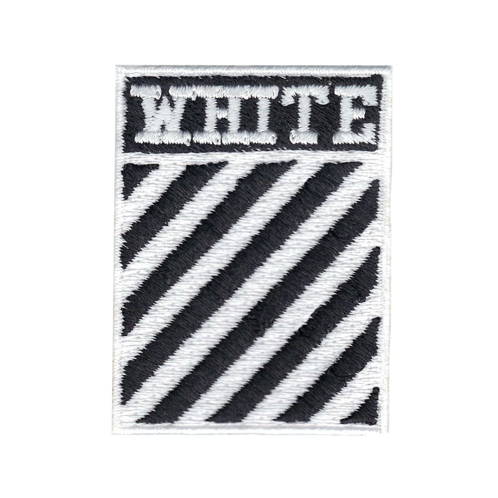 White Stripes Box Logo Iron On Applique Patch