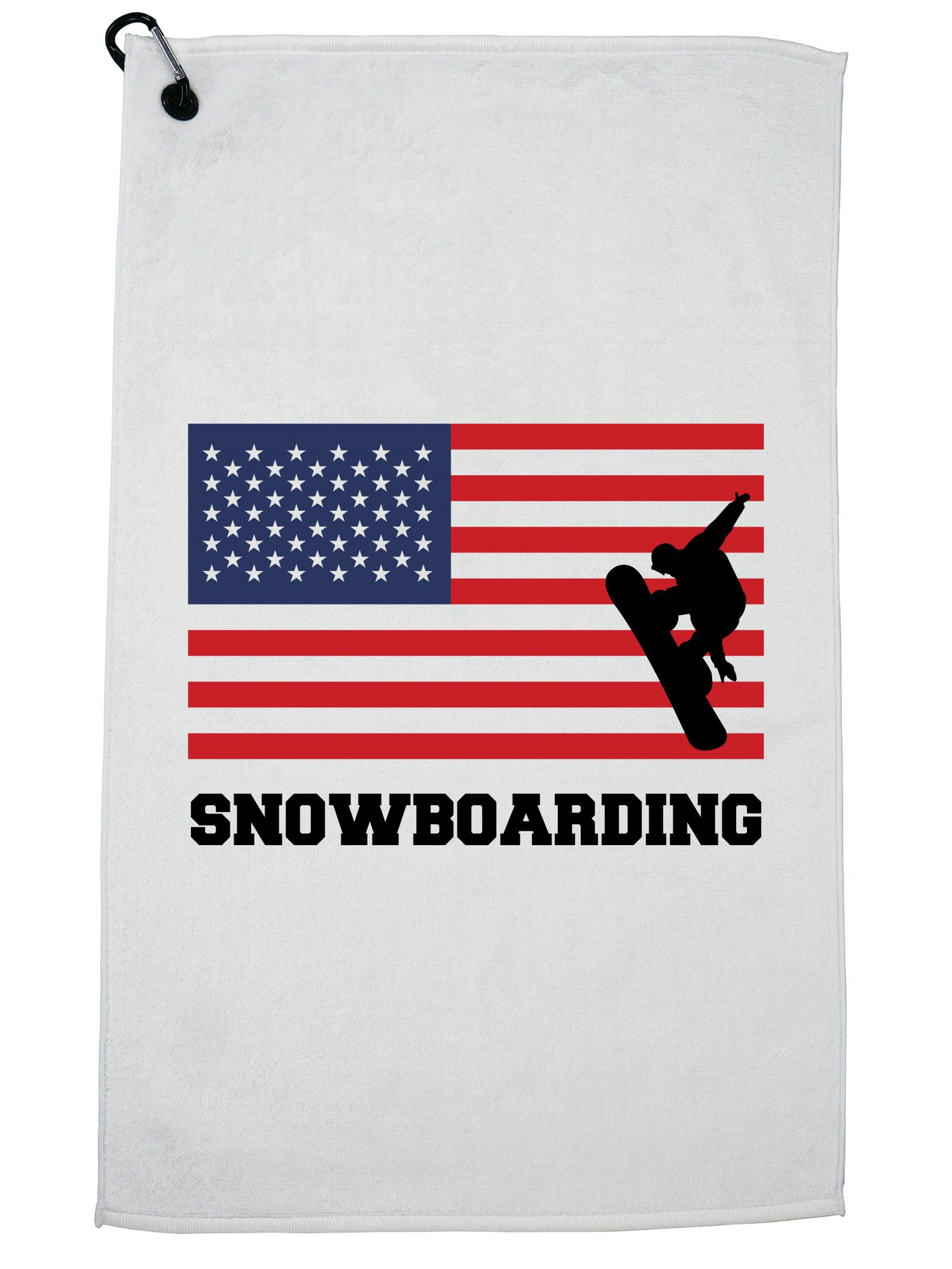USA Snowboarding Winter Olympic Korea Flag Golf Towel with Carabiner Clip by Hollywood Thread
