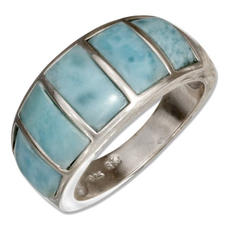 STERLING SILVER TAPERED BARS LARIMAR BAND RING