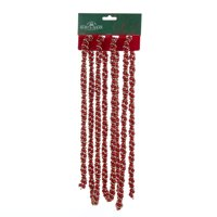 Pack of 12 Red and Gold Twisted Beaded Garland - Unlit