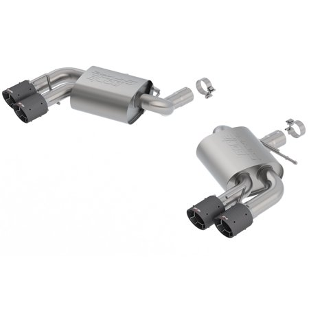 Borla 11920CF S-Type Axle-Back Exhaust System; 2.75in. Into Muffler Dual 2.5in. Out; Incl. Mufflers/Tailpipes/Clamps/4x6.25 in. Carbon Fiber Round Tips; Dual Split Rear Exit;