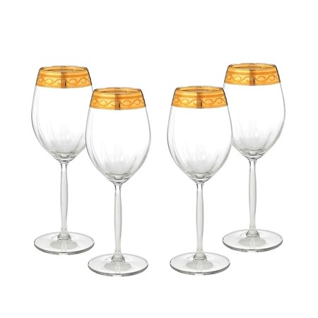 Cristalleria Fratelli Fumo Italian Crystal Wine Water Beverage Glasses, 24 Kt Gold Rimmed Goblets, Hand Made in Italy, Set of 4 (Alessandra)