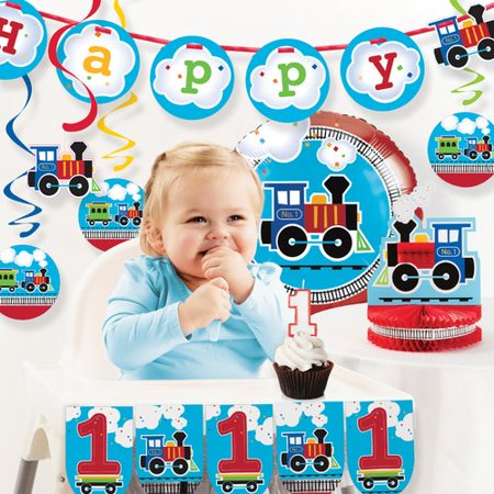 - The Party Aisle All Aboard Train First Birthday Party Decoration Kit