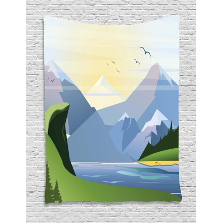 Northwoods Tapestry, Nature Illustration with Grass Lake Forest Mountains and Hills Outdoor Activity, Wall Hanging for Bedroom Living Room Dorm Decor, 40W X 60L Inches, Multicolor, by (Hill Outdoor Hanging Wall)