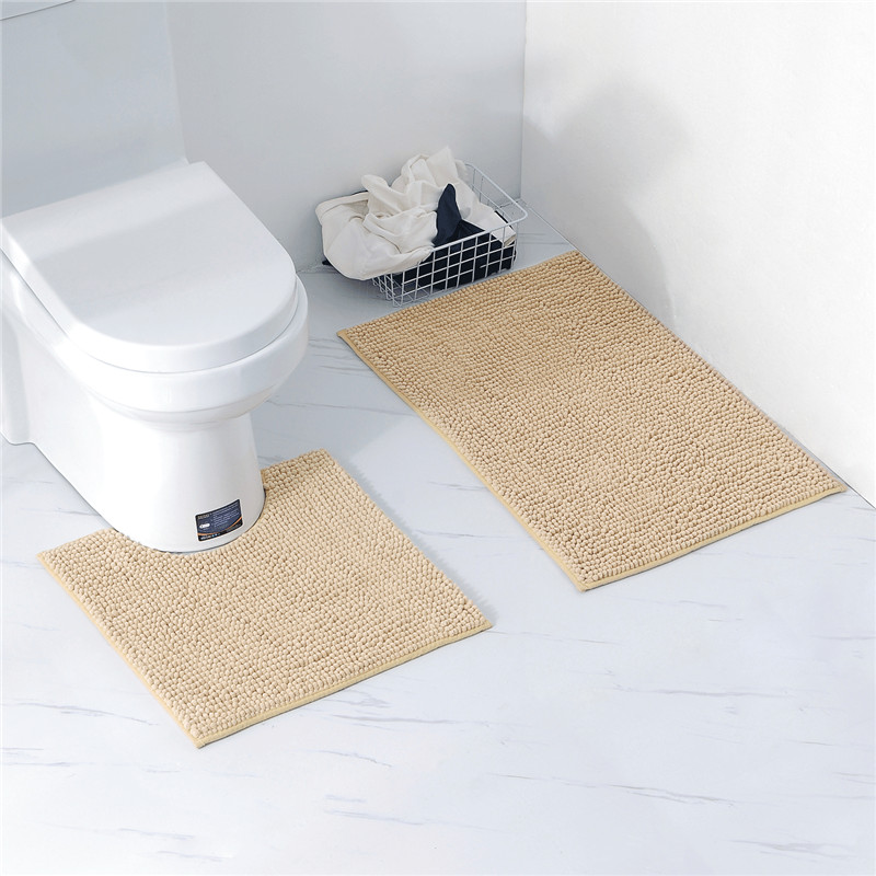 2Pc Memory Foam Bath Shower Mats Set Pedestal Bedroom Soft Non Slip Bathroom Rug