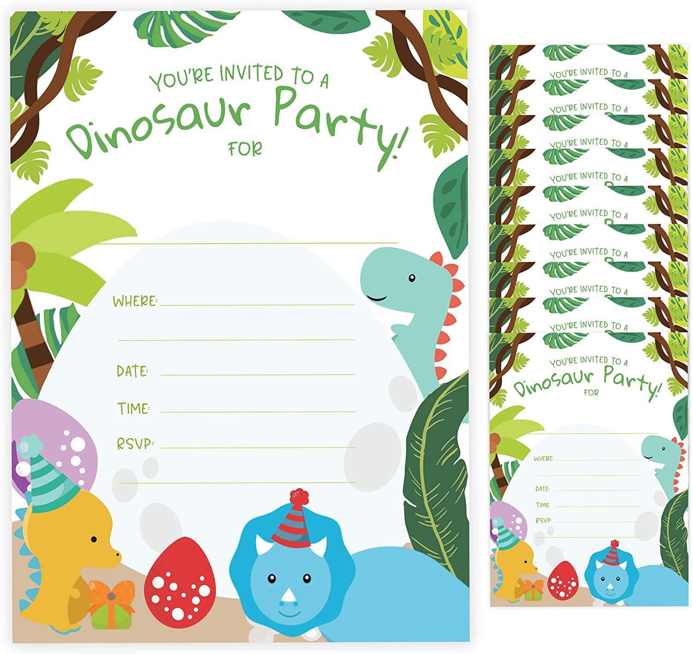 dinosaur style 2 dino happy birthday invitations invite