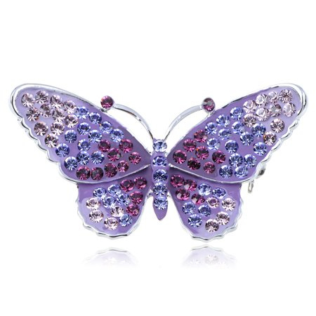 Crystal Elements Purple Regal Monarch Jeweled Butterfly Pin Brooch (Butterfly Pins)