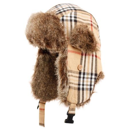 Plaid Trapper Hat w/ Faux Fur Warm Hunting Hat Ear Flaps