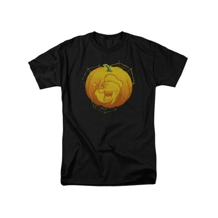 Popeye The Sailor Man Cartoon Character Carved Pumpkin Adult T-Shirt Tee - Male Cartoon Characters