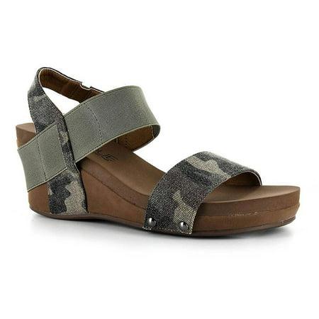 Corkys Women's Bandit Wedge Sandal, Rose Gold (6 B(M) US, Camo) (Camouflage Kids Sandals)