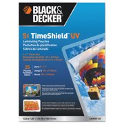 BLACK+DECKER Timeshield UV Thermal Laminating Pouches, 5 x 7 Photo, 5 Mil - 25 Pack