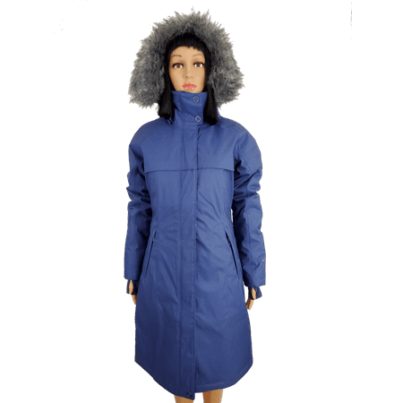 Columbia Women's Flurry Run Down Long Omni Heat Jacket Coat Hooded Parka Blue (large) (Womens Columbia Omni Heat Jacket)