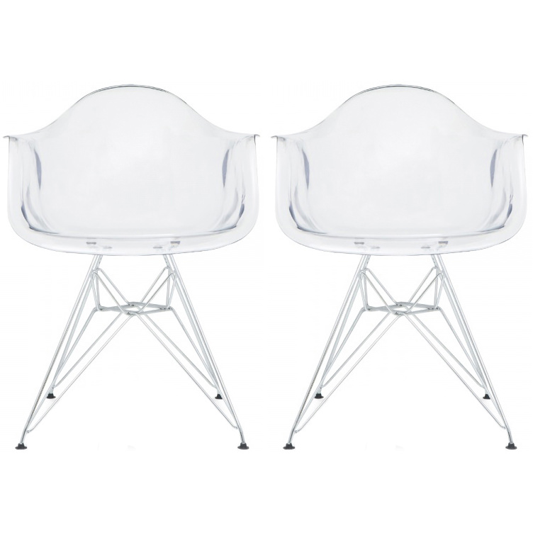 Clear Kitchen Chairs: 2xhome Clear Transparent Crystal Glam Modern Plastic