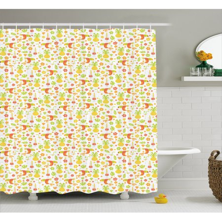 Luau Shower Curtain, Tropical Birds and Trees Plants Leaves Flowers Nature Party Theme, Fabric Bathroom Set with Hooks, 69W X 75L Inches Long, Apricot Dark Orange Apple Green, by Ambesonne