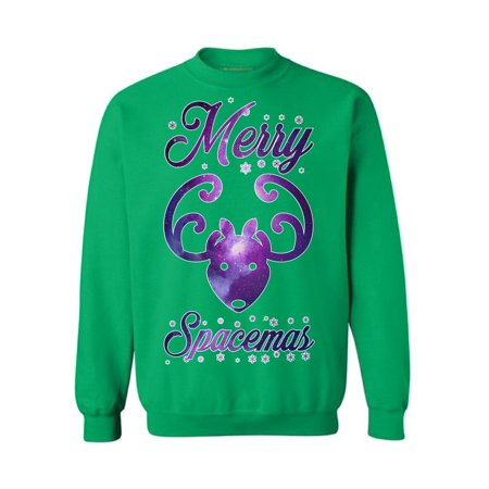 Awkward Styles Merry Spacemas Sweatshirt Spacemas Ugly Christmas Sweater Galaxy Christmas Ugly Sweater for Men Women's Christmas Outfit Funny Christmas Gifts Christmas Reindeer Galaxy Sweatshirt (Ugly Sweater Outfits)