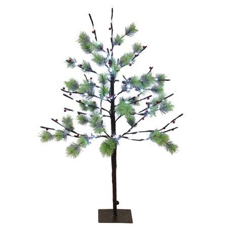 3ft Pre-Lit Pencil Fir Artificial Christmas Tree - Twinkling Warm White LED Lights ()