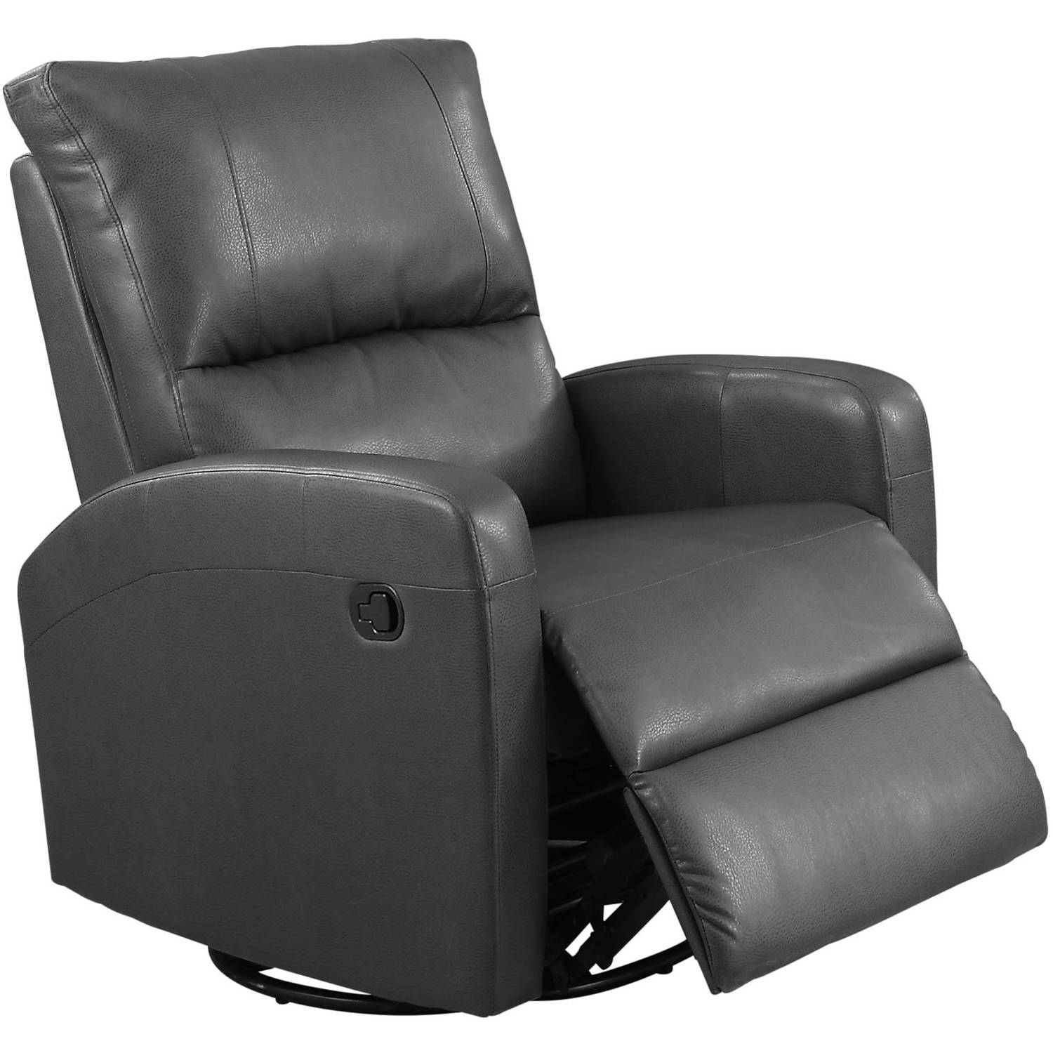 Monarch Recliner Swivel Glider / Charcoal Grey Bonded Leather