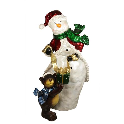 "48"" Commercial Size Snowman with Bear Christmas Display Decoration"