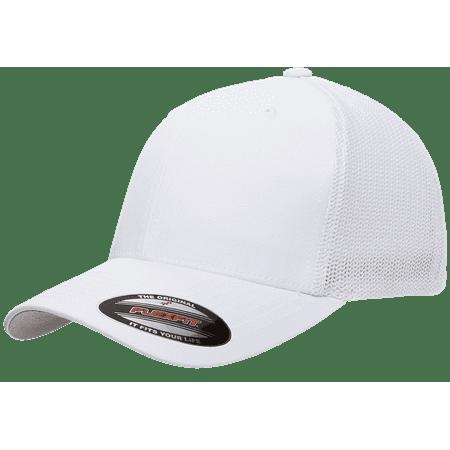 7e3d5e39 The Hat Pros Fitted Hat Mesh Cotton Twill Trucker Flexfit Cap 6511 (White)  - Walmart.com