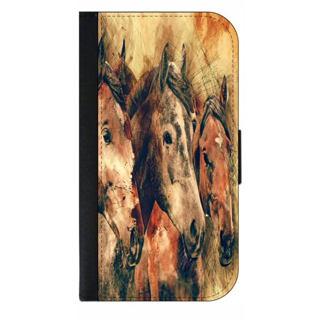 Vintage Style Horses - Wallet Style Cell Phone Case with 2 Card Slots and a Flip Cover Compatible with the Standard Apple iPhone 7 and 8 Universal
