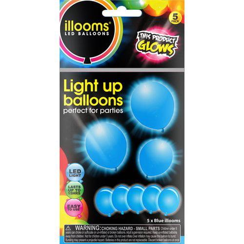Illoom Balloons 5 Pk Blue Illuminated Balloons