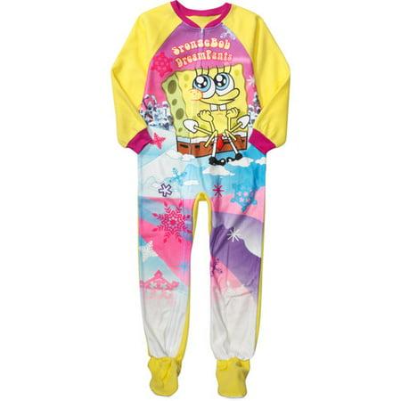 Nickelodeon - Nickelodeon - Girls  SpongeBob SquarePants Footy Pajamas -  Walmart.com 4c3b558bc