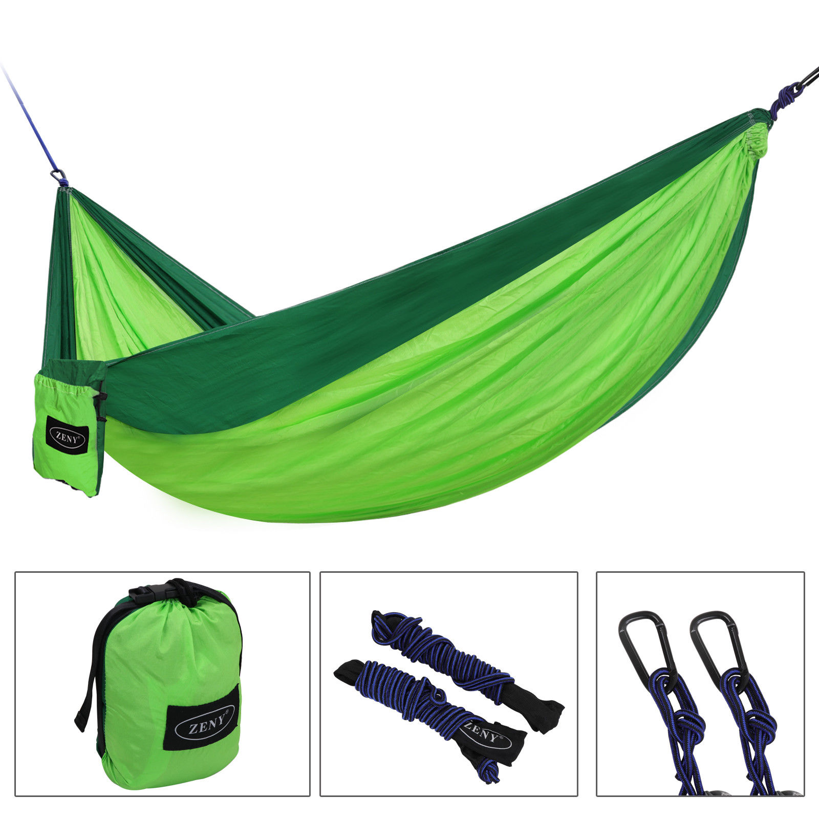 Zeny Double Hanging Hammock Two person Nylon Camping Hammock Portable Travel Sleep Swing With Storage Bag