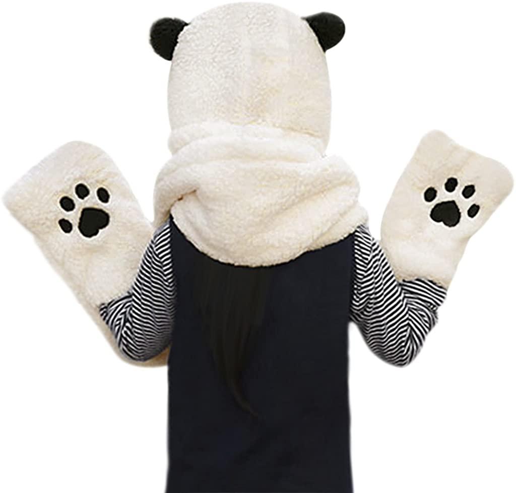 Girl Boys Cartoon Panda Hooded Hat Scarf Gloves Soft Plush Hat Scarf Mitten Set