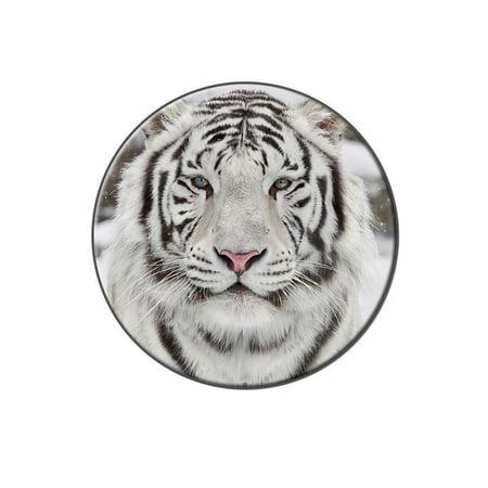 White Bengal Tiger with Blue Eyes Lapel Hat Pin Tie Tack Large Round
