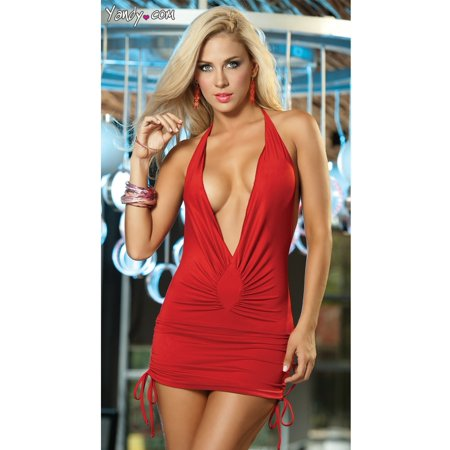 8dc0ecc276 Espiral - Low Cut Mini Dress with Cinched Ties on Sides - Walmart.com