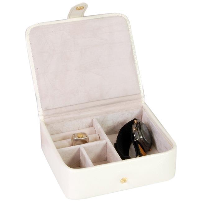 Budd Leather 542559L-7 Lizard Print Calf Stud ring Box - White