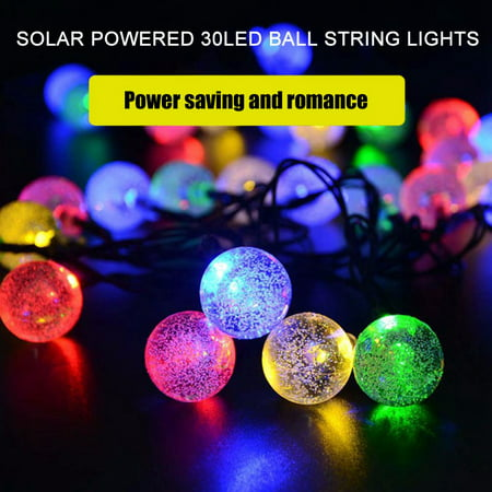 Zerone Solar Powered 30LED Globe Balls  String Lights Waterproof Outdoor String Lights Home Garden Yard Festival Party Lamp Decoration,Warm White/Colorful (Outdoor White Globe Lights)