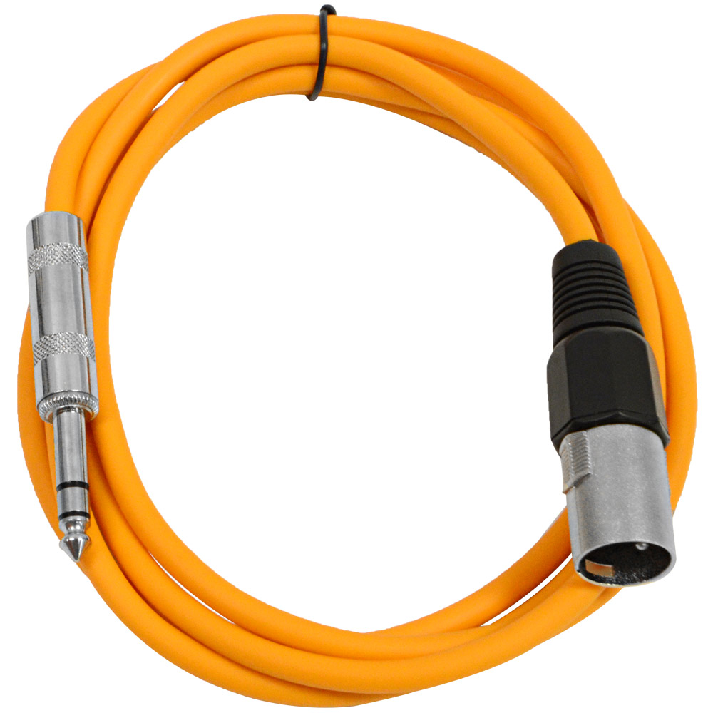 "Seismic Audio  Orange 1/4"" TRS - XLR Male 6' Patch Cable Orange - SATRXL-M6Orange"