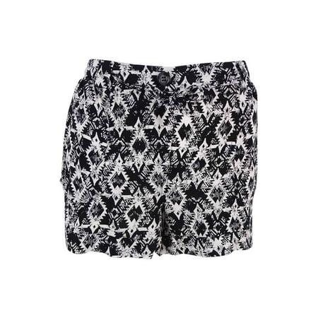 American Rag Women's Printed Cuffed Drawstring Shorts (M, Classic Black)