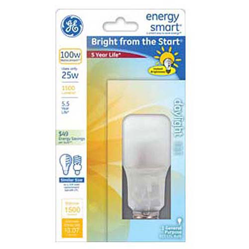 GE Lighting 60308 Energy Smart Bright From The Start CFL 25-watt 1500-Lumen A23 Light Bulb with Medium Base, 1-Pack