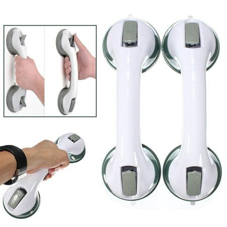 2Pcs Portable Bathroom Anti-Slip Waterproof Grip Rail Tub Shower Support Safety Bar Extra Ultra Suction Mount Handle Assist Bar Wall Grabber Helper